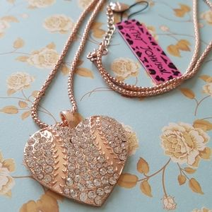 NEW BJ Necklace Heart Crystal Pendant Chain